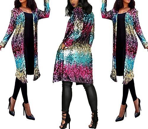 PROMLINK Women Sequin Loose Open Front Party Dress Long Sleeve Cardigan Coat