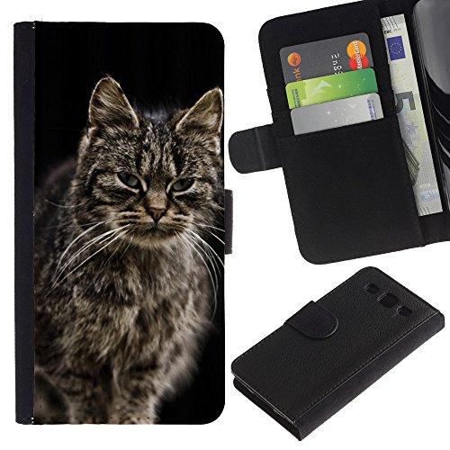 EuroCase - Samsung Galaxy S3 III I9300 - Norwegian forest cat Maine coon longhair - Cuero PU Delgado caso cubierta Shell Armor Funda Case Cover