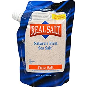 Redmond Real Salt, Ancient Fine Sea Salt, Unrefined Mineral Salt, 26 Ounce Pouch (1 Pack)