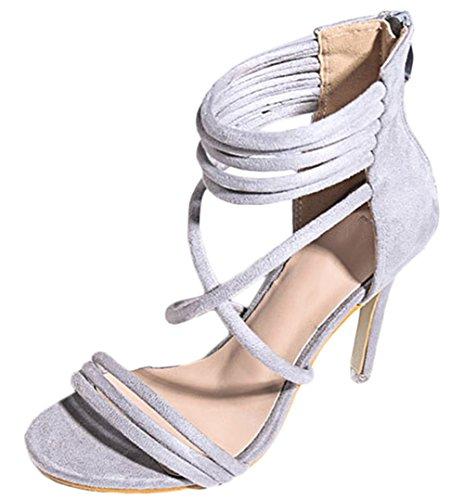 Forme Mesdames Open Croix Chaussures Talons Satin Boucle Cheville Party Grey Sangle de de Hauts de Fête Scothen Escarpins Schluepfen Plate avec Sandales Mariage Ruban Toe Chaussures wYzxpf