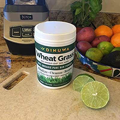 Dinuwa Wheat Grass Superfood - Amazing 80/20 Blend Of Whole Leaf - Juice Powder Has The Highest Nutrition Absorption Rate. Vegan Gluten And Dairy Free High In Protein Vitamins Enzymes And Chlorophyll