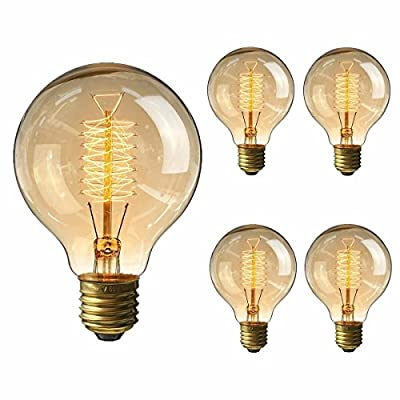 KINGSO E27 Base 60w Vintage Edison Bulb Dimmable G80 Antique Filament Tungsten Spiral Globe Style 64 Anchors Incandescent Bulbs for Home Light Lamp Fixtures Nostalgic Decorative Glass 110v