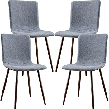 Poly And Bark Wadsworth Dining Chair With Walnut Legs In Gray Set Of 4