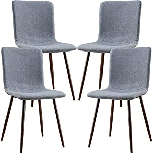 EdgeMod Wadsworth Dining Chair with Walnut Legs, Set of 4