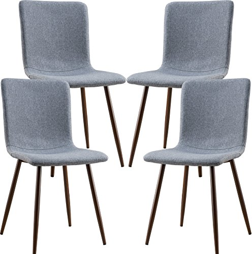 Poly and Bark Wadsworth Dining Chair with Walnut Legs, Set of 4, Gray