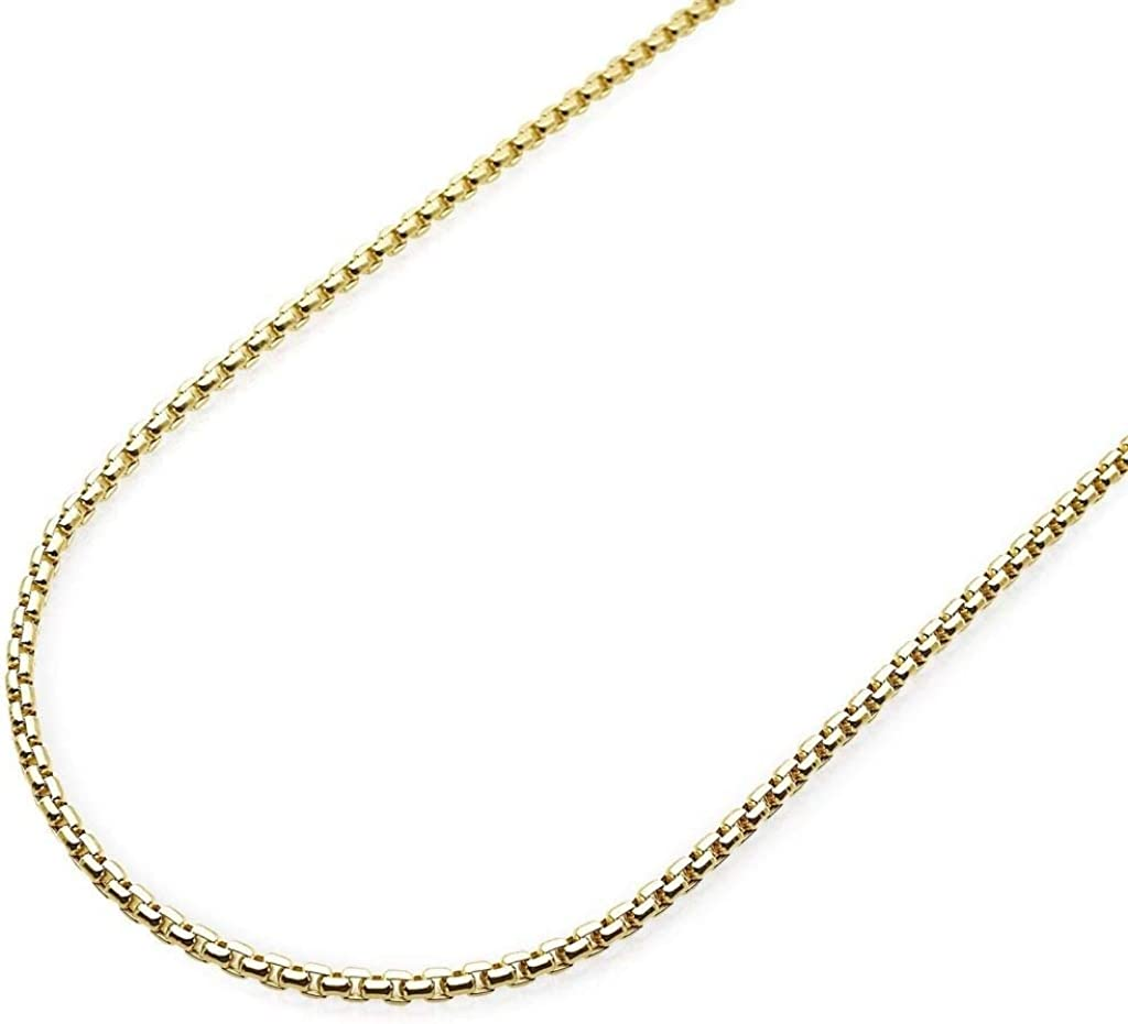 14K Gold 1.8mm Round Box Chain Necklace - Multiple Lengths Available- Available in Yellow and White