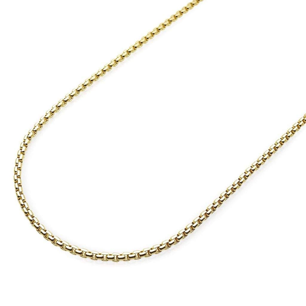 14K Yellow Gold 1.8mm Round Box Chain Necklace - Multiple Lengths Available- 14 Karat Gold (26)
