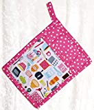 1 Pocket Pot Holder With Hanging Loop - Vintage Dishes and Retro Tools on Hot Pink