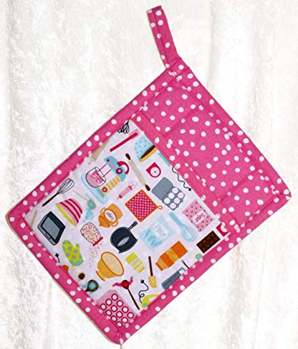 1 Pocket Pot Holder With Hanging Loop - Vintage Dishes and Retro Tools on Hot Pink by Green Acorn Kitchen