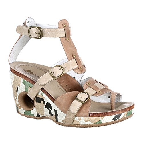 4EurSole Womens Set Free Strappy Wedge Sandal Taupe/Sand Camo Leather 2JXVrm
