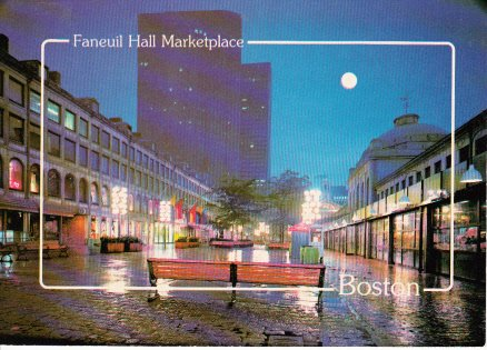 Vintage Unused Postcard Faneuil Hall Marketplace Quincy Market Boston - Hall Boston Faneuil Marketplace