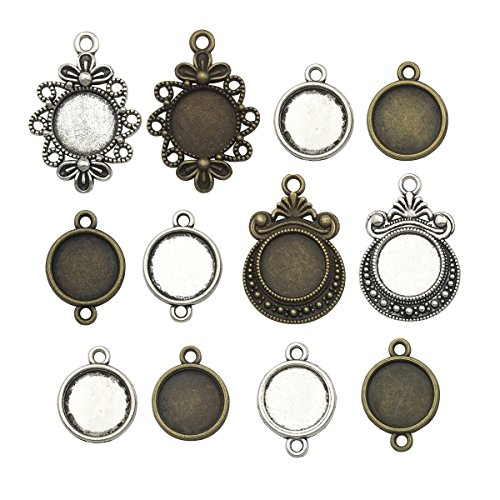 Fit 12mm Round Blank Bezel Pendant Trays Base Cabochon Settings Trays Pendant Blanks Neckalce Earrings Jewelry Making DIY Findings (60pcs mixed)