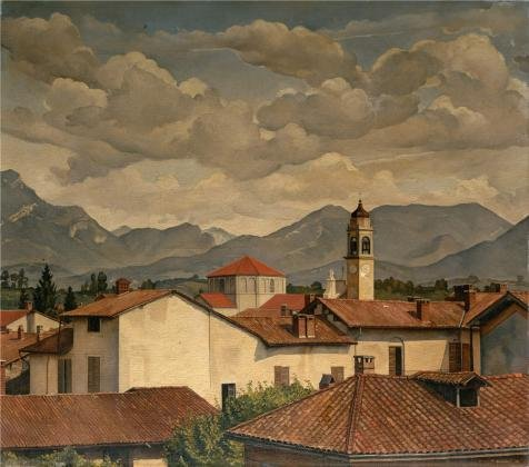 The Perfect Effect Canvas Of Oil Painting 'Luigi Lucioni,View Of Malnate,1929' ,size: 8x9 Inch / 20x23 Cm ,this Cheap But Art Decorative Art Decorative Canvas Prints Is Fit For Dining Room Decoration And Home Gallery Art And Gifts