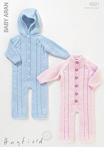 Sirdar Hayfield Baby Aran Knitting Pattern 4501 Round Neck