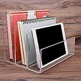 Clear Acrylic File Folder Holder Rack,File Folder Sorter for Document Paper Letter Book Envelope Laptop Organizer, Office File Organizer Stand Rack on Office Desktop