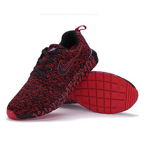Delamode Hommes Tricot Maille Sport Lumière Chaussures Casual Réel Vie Dentelle Coloré Amortissement Baskets Rouge