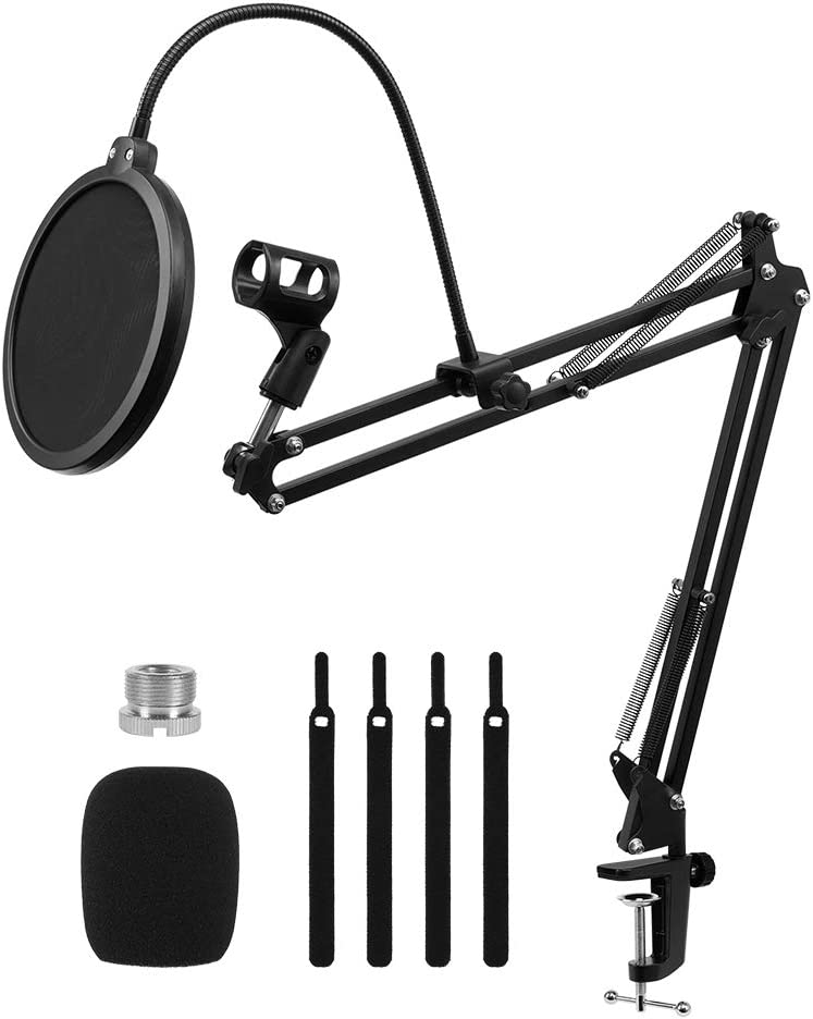 XRIDONSEN Desk Mic Stand,Suspension mic boom Adjustable arm with Microphone filter,mic clip for Radio Broadcasting and Recording