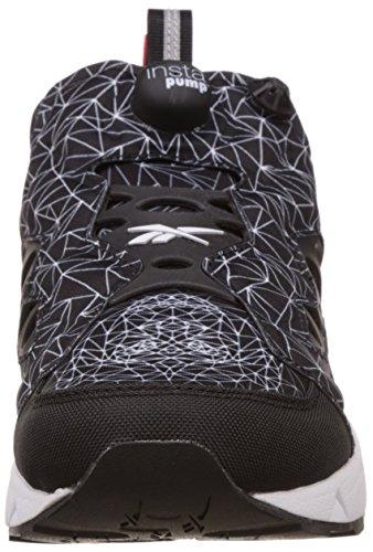 Sneaker Reebok Instapump Furry Road en tejido negro con estampa Blanco-Negro-Rojo