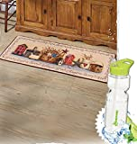 Gift Included- Primitive Country Home Kitchen Cooking Decor Collection Sets + FREE Bonus Water Bottle by Homecricket (Rug)