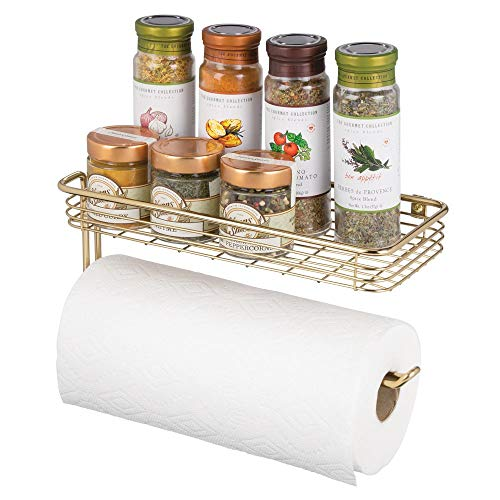 mDesign Paper Towel Holder with Spice Rack and Multi-Purpose Shelf - Wall Mount Storage Organizer for Kitchen, Pantry, Laundry, Garage - Durable Metal Wire Design - Soft Brass
