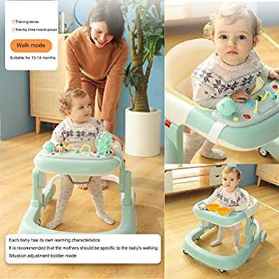 Olz Adjustable Height Baby Walkers for Boys and Girls with Easy Clean Tray and Universal Wheels, Anti-Rollover Folding Toddler Walker for Baby 6-24 Months,Green: Sports & Outdoors