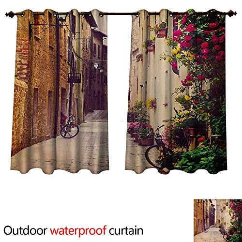 WilliamsDecor Cityscape 0utdoor Curtains for Patio Waterproof Street in Pienza Tuscany Italy with Hanging Basket Plants Flowers Bicycles Picture W55 x L72(140cm x 183cm) ()