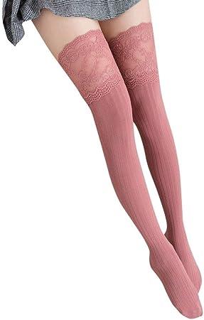 Medias Sexis for Mujer Medias de Encaje hasta el Muslo Medias largas hasta la Rodilla Medias largas for niñas Medias de algodón Mujeres Calcetines (Color : Pink, Size : One Size): Amazon.es: