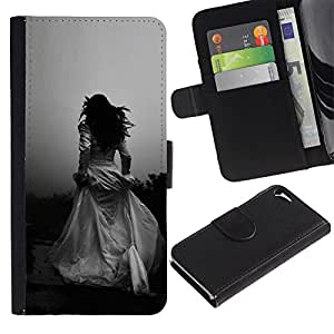 Paccase / Billetera de Cuero Caso del tirón Titular de la tarjeta Carcasa Funda para - Woman Black White Wedding Escape - Apple Iphone 5 / 5S