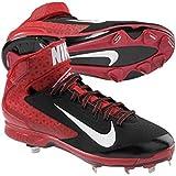 Nike Men's Huarache Pro Mid Metal Black/White/Varsity Red Baseball Cleat 12 Men US