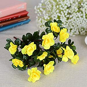 HOMZE Fall Decorations Outdoor Artificial Red Azalea Flowers Bushes UV Resistant Fake Flowers Home Decor Small Decorations for Garden Yellow 58