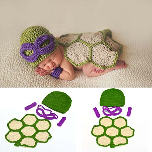 Osye Baby Crochet Knitted Outfit Turtle Costume Set Photography Photo Props (Purple) -