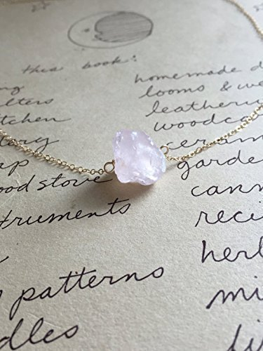 Raw Rose Quartz Crystal Necklace 16