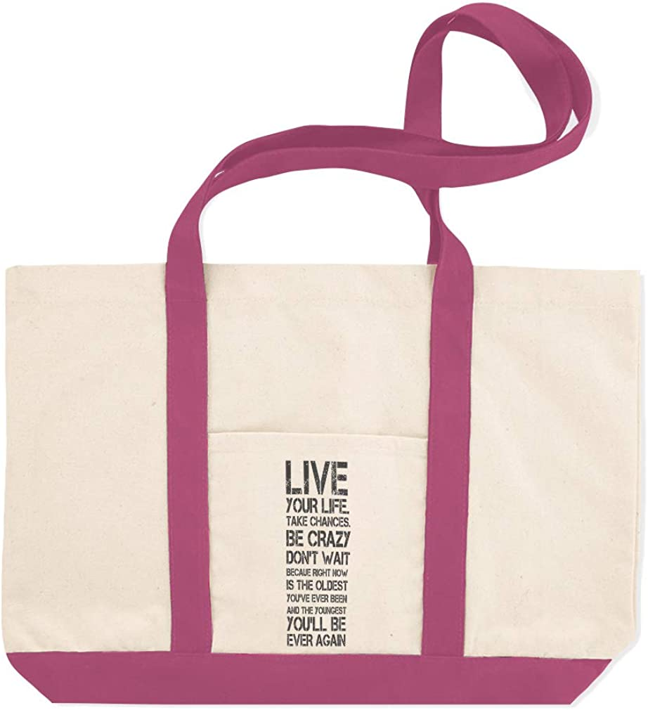 Canvas Shopping Tote Bag Now Is The Oldest YouVe Youngest Live Life to The Fullest Beach for Women