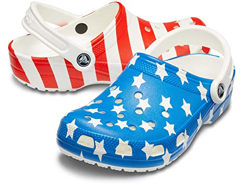 Crocs Classic American Flag Clog, White/Multi, 9 US Men/ 11 US Women M - Charm Us Flag