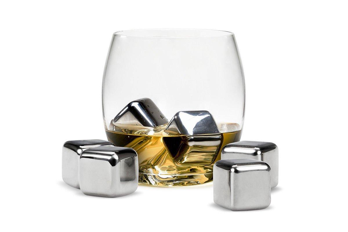 Acuvar Set of 6 Stainless Steel Reusable Ice Cube Stones ith Plastic Storage Box for Whiskey, Wine, Scotch, Soda AC-WHIZ8892