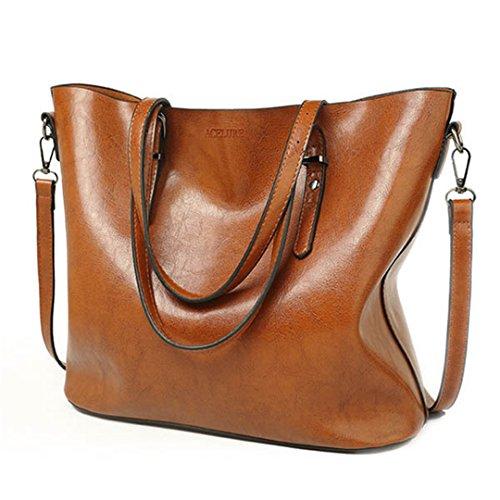 gran Leather Tote capacidad Bolsos Wax mujeres Bolsa Casual cuero Brown aceite Borgoña pu Mujeres de bandolera bandoleras con de Bag de bolsos n8qzw7gPr8