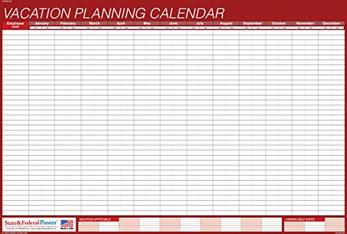 UNDATED Horizontal Vacation Planner (Red) Laminated, Erasable Calendar 27 x 40""