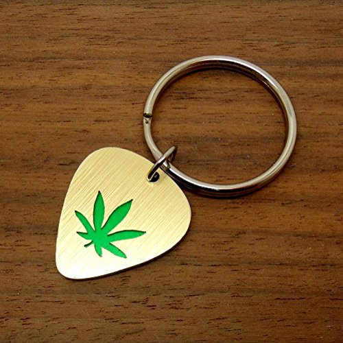 Marijuana Leaf Key Ring or Necklace Made From Guitar Picks