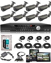 USG Business Grade CCTV Kit: 1x 16 Channel 960H DVR + 8x 2.8-12mm Bullet Cameras + 1x 2TB HDD + 8x BNC Video/DC Power Cables (65