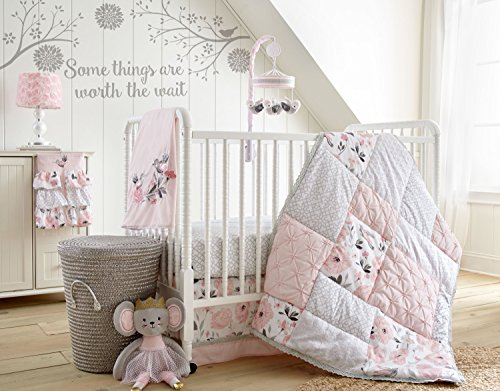 - Levtex Baby Elise Grey and Pink Floral 5 Piece Crib Bedding Set, Quilt, 100% Cotton Crib Fitted Sheet, Dust Ruffle, Diaper Stacker and Large Wall Decals