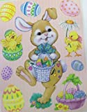 Easter Reusable Window Clings ~ Bunny with Basket of Eggs, Flowers, and Candy with Ducklings! (10 Clings, 1 Sheet)