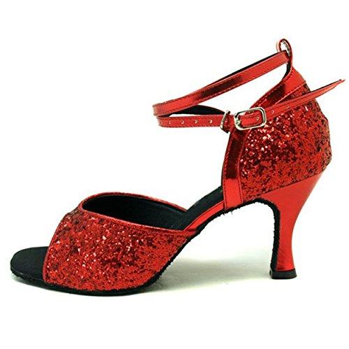 Colorfulworldstore Zapatos de baile latino abiertos con lentejuelas de color rojo/negro Rojo