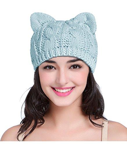 V28 Hand Made Fashion Women Boy Girl Crochet Knit Winter Cat Deer Ear Xmas Hats (Medium, Kitten Blue)