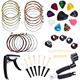 Benvo Guitar Accessories Kit All-in 1 Guitar Tool Changing Kit Including Guitar Picks, Capo, Acoustic Guitar Strings, String Winder, Bridge Pins, Pin Puller, Picks & Pick Holder, Finger Picks