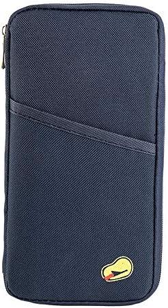 vanessasa_JPパスポートケーススキミング防止 パスポートバッグ 防水 パスポートカバー 多機能収納ポケット 航空券 クレジットカード 小銭 紙幣 カード 小銭 ペン 鍵など収納可 大容量 トラベルウォレッド 7色選択可能 (ネービー)