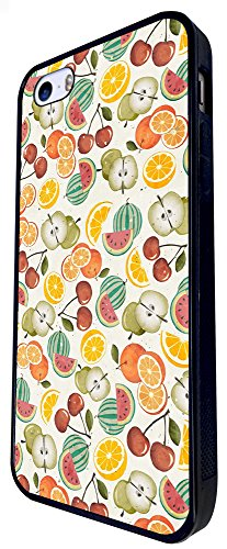 1532 - Cool Fun Trendy Cute Kawaii Mixed Fruit Tropical Apple Coconut Pineapple Grapes Design iphone SE - 2016 Coque Fashion Trend Case Coque Protection Cover plastique et métal - Noir