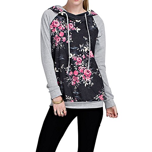 ral Print Pullover Sweatshirt Long Sleeve Loose Casual Hoodies Tops (Hoody Pullover Casual Sweatshirt)