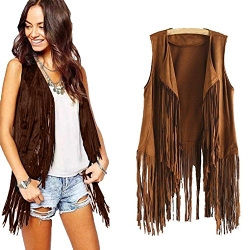 FDelinK Clearance! Women Faux Suede Ethnic Sleeveless Tassels