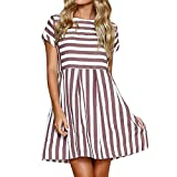 Women's Ladies Striped Short Sleeve O-Neck Mini Dress Casual Loose Summer Party Dresses Beach Sundress for Girls Pink