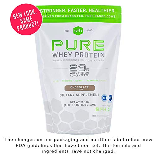 - Pure Whey Protein Powder (Chocolate) by SFH | Best Tasting 100% Grass Fed Whey | All Natural | 100% Non-GMO, No Artificials, Soy Free, Gluten Free | 896g (Chocolate, 2 Pound Bag)